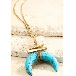 Crescent Horn Wire Stone Wrap Pendant Necklace NWT